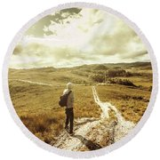 Tasmanian Man On Road In Nature Reserve Round Beach Towel