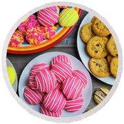 Tasty Assortment Of Cookies Round Beach Towel