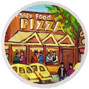 Tasty Food Pizza On Decarie Blvd Round Beach Towel
