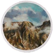 Tatry Mountains- Giewont Round Beach Towel