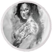 Tattoo Round Beach Towel