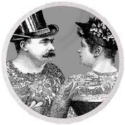 Tattooed Victorian Lovers Round Beach Towel