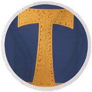 Tau Cross Round Beach Towel