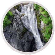 Taughannock Falls Upper Rim Trail Round Beach Towel by Christina Rollo