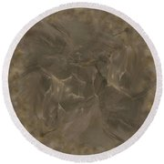Taupe Fractal Composition Round Beach Towel