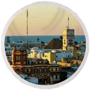 Tavira Tower And Post Office From West Tower Cadiz Spain Round Beach Towel