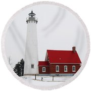 Tawas Point Lighthouse 2 Round Beach Towel