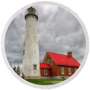 Tawas Point Lighthouse Round Beach Towel