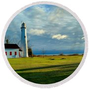 Sturgeon Point Lighthouse Round Beach Towel