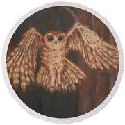 Tawny Owl In Flight Round Beach Towel