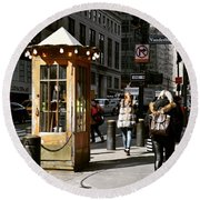 Taxi Booth Round Beach Towel
