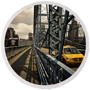 Taxi Crossing Smithfield Street Bridge Pittsburgh Pennsylvania Round Beach Towel