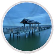 Taylor Dock Boardwalk At Blue Hour Round Beach Towel