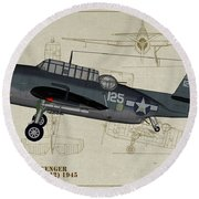 Tbm-3 Avenger Profile Art Round Beach Towel