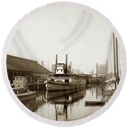 T.c. Walker Paddle Riverboat City Of Stockton Riverboat And Kath Round Beach Towel