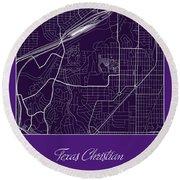 Tcu Street Map - Texas Christian University Fort Worth Map Round Beach Towel