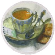 Tea And Biscuits Round Beach Towel