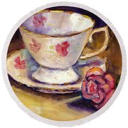 Tea Cup With Rose Still Life Grace Venditti Montreal Art Round Beach Towel