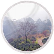 Tea Field Round Beach Towel