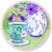 Tea For Two Round Beach Towel