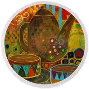 Tea Party With Klimt Round Beach Towel
