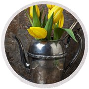Tea Pot And Tulips Round Beach Towel
