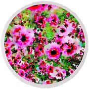Tea Tree Garden Flowers Round Beach Towel