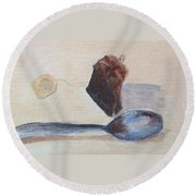 Teabag And Spoon Round Beach Towel