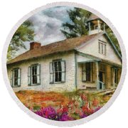 Teacher - The School House Round Beach Towel by Mike Savad