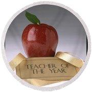 Teacher Of The Year Award Poster Round Beach Towel