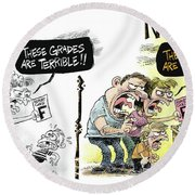 Teachers Then And Now Round Beach Towel