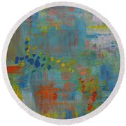 Teal Abstract, A New Look Again Round Beach Towel
