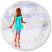 First Steps Round Beach Towel