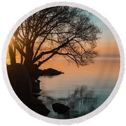 Teal And Orange Morning Tranquility With Rocks And Willows Round Beach Towel