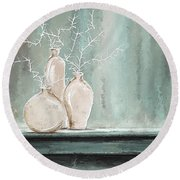 Teal And White Art Round Beach Towel