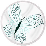Teal Butterfly Round Beach Towel