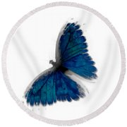 Butterfly Blur In Teal Blues Round Beach Towel