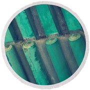 Teal Chinese Ceiling Round Beach Towel