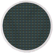 Teal Diamond Crackle From Sunset Strip Round Beach Towel