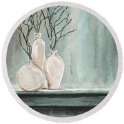 Teal Elegance - Teal And Gray Art Round Beach Towel