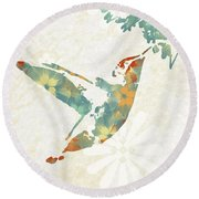 Floral Hummingbird Art Round Beach Towel