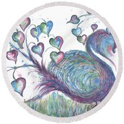 Teal Hearted Peacock Watercolor Round Beach Towel