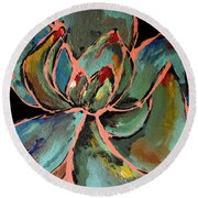 Teal Pink Succulent Round Beach Towel