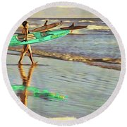 Teal Reflections Round Beach Towel