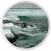 Teal Winter Waters Round Beach Towel by James Peterson