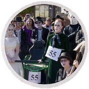 Team 55 At Emma Crawford Coffin Races In Manitou Springs Colorado Round Beach Towel