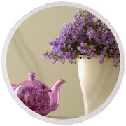 Teapot And Flowers In A Vase Round Beach Towel