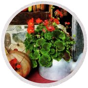 Teapot Filled With Geraniums Round Beach Towel