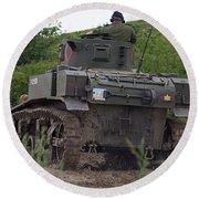 Tearing It Up - M3 Stuart Light Tank Round Beach Towel