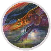 Tears Of The Tiger Round Beach Towel